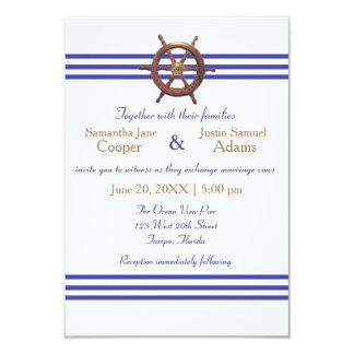 Nautical Captain's Wheel - 3x5 Wedding Invitation