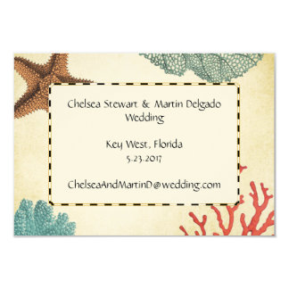 Nautical Caribbean Starfish Rustic Map and Coral Card