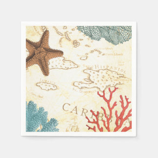 Nautical Caribbean Starfish Rustic Map and Coral Disposable Serviette