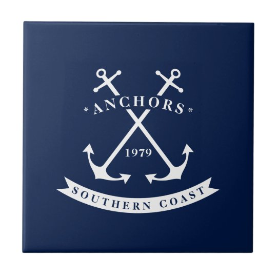 Nautical Ceramic Tile, Anchor Badge, Blue, White Ceramic Tile