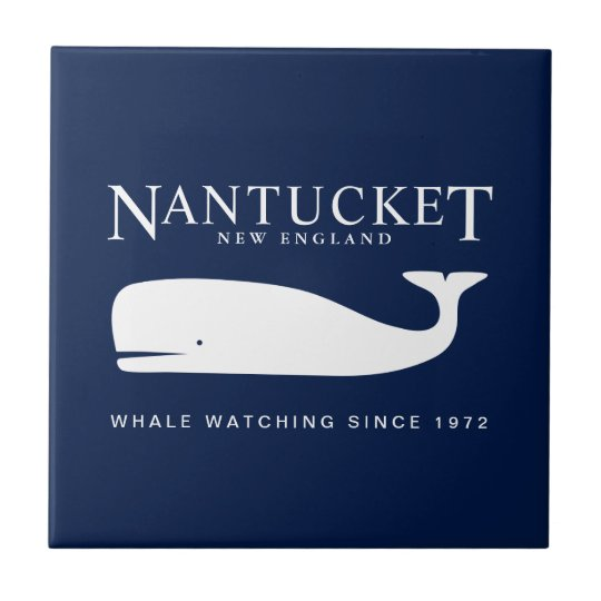 Nautical Ceramic Tile, Nantucket Whale Watch Badge Ceramic Tile