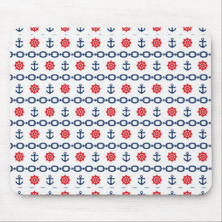 Nautical Chain in Red, White, & Blue Mouse Pad