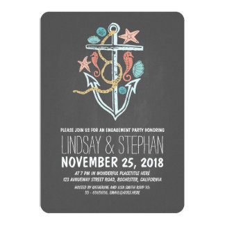 Nautical chalkboard beach engagement party invites
