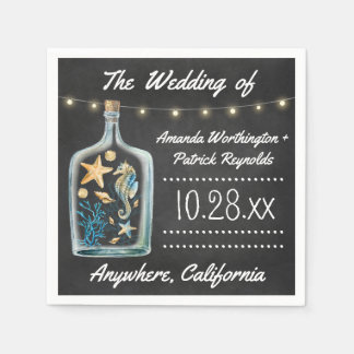 Nautical Chalkboard Starfish Wedding Napkins Paper Napkin