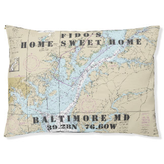Nautical Chart Baltimore MD Pet's Name Pet Bed