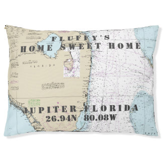Nautical Chart Jupiter Palm Beach South Florida Pet Bed