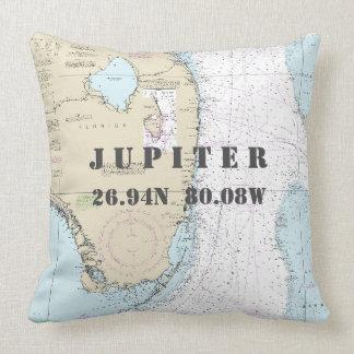 Nautical Chart Latitude Longitude Jupiter, Florida Cushion
