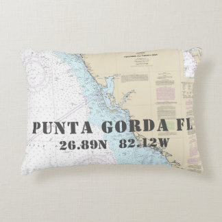 Nautical Chart Latitude Longitude Punta Gorda FL Decorative Cushion