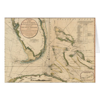 Nautical Chart of the Gulf of Florida Card