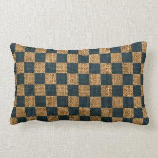 Nautical Check in Deep Sea Blue Lumbar Cushion