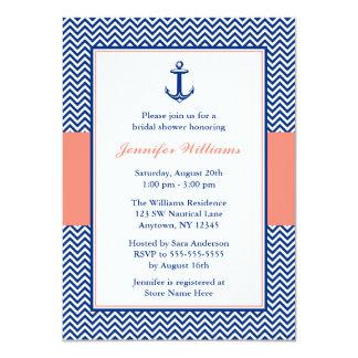 Nautical Chevron Anchor Blue Coral Bridal Shower 11 Cm X 16 Cm Invitation Card