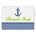 Nautical Chevron Anchor Blue Green Thank You Greeting Card