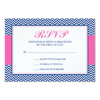 Nautical Chevron Anchor Blue Pink Response Card Personalized Invite