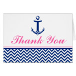 Nautical Chevron Anchor Blue Pink Thank You Stationery Note Card