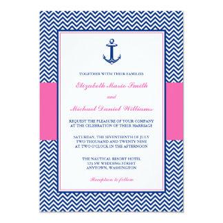 Nautical Chevron Anchor Blue Pink Wedding 13 Cm X 18 Cm Invitation Card