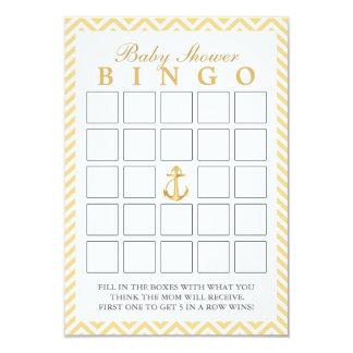 Nautical Chevron Stripes Baby Shower Bingo Cards