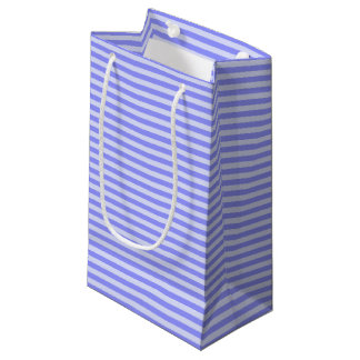 Nautical Chic Cornflower and Pastel Blue Stripes Small Gift Bag