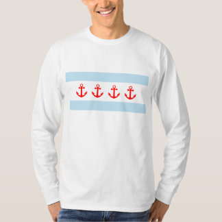 Nautical Chicago Flag Anchors T-Shirt