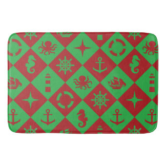Nautical christmas pattern bath mat