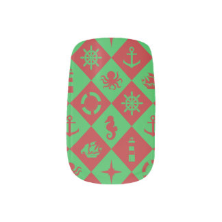 Nautical christmas pattern minx nail art