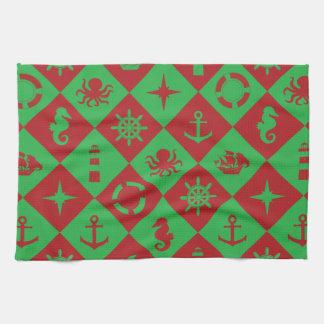 Nautical christmas pattern tea towel