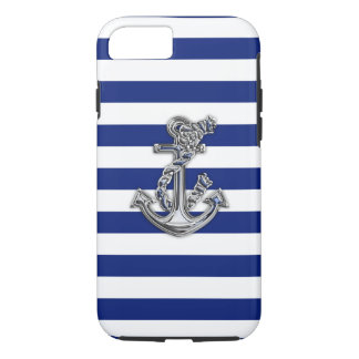 Nautical Chrome Anchor on Navy Stripes Print iPhone 7 Case