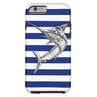 Nautical Chrome Blue Marlin on Navy Stripes Print Tough iPhone 6 Case