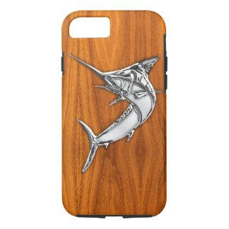Nautical Chrome Blue Marlin on Teak Wood Print iPhone 8/7 Case
