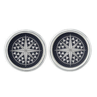 Nautical Chrome Compass Star on Carbon Fiber Print Cuff Links