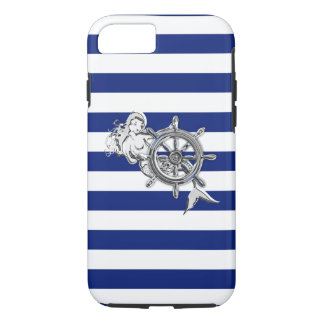 Nautical Chrome Mermaid on Navy Stripes Print iPhone 7 Case