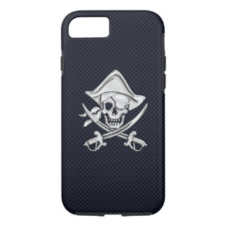 Nautical Chrome Pirate on Carbon Fibre Print iPhone 7 Case