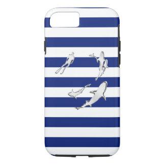 Nautical Chrome Sharks on Navy Stripes Print iPhone 7 Case