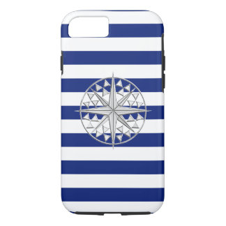 Nautical Chrome Star Compass on Navy Stripes Print iPhone 7 Case