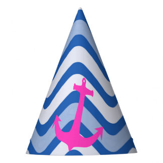 Nautical coastal beach ocean anchor pink paper hat