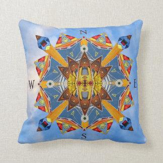 Nautical Compass Kaleidoscope Throw Pillow