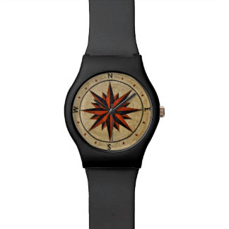 Nautical Compass Mosaic Decor Watch