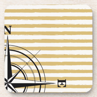 Nautical Compass NSEW Stripes Ivory Taupe Black Drink Coasters