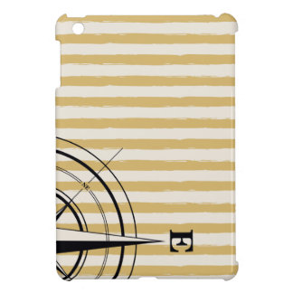 Nautical Compass NSEW Stripes Ivory Taupe Black iPad Mini Cases