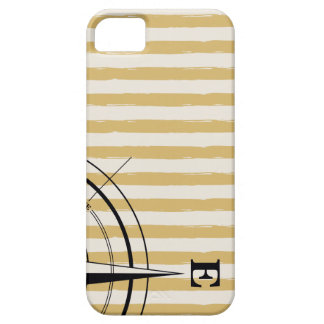 Nautical Compass NSEW Stripes Ivory Taupe Black iPhone 5 Covers