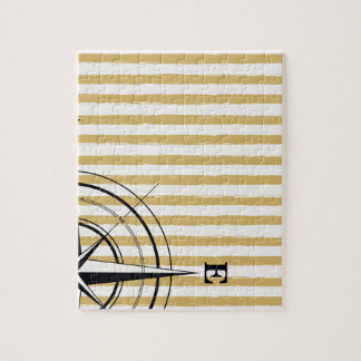 Nautical Compass NSEW Stripes Ivory Taupe Black Jigsaw Puzzle