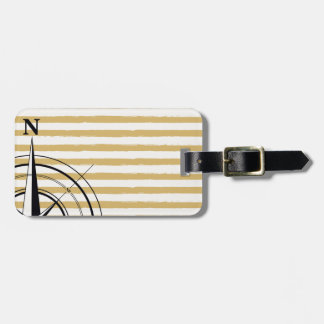 Nautical Compass NSEW Stripes Ivory Taupe Black Luggage Tag