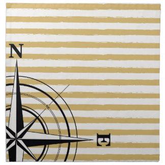 Nautical Compass NSEW Stripes Ivory Taupe Black Napkin