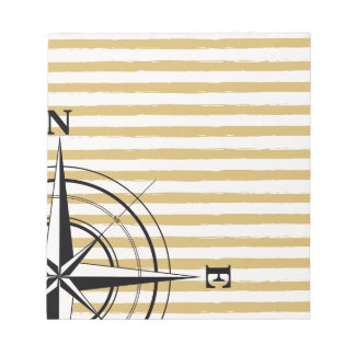 Nautical Compass NSEW Stripes Ivory Taupe Black Notepad