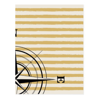 Nautical Compass NSEW Stripes Ivory Taupe Black Postcard