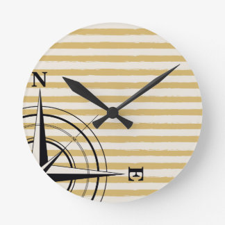 Nautical Compass NSEW Stripes Ivory Taupe Black Round Clock