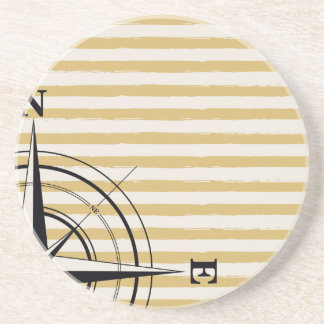 Nautical Compass NSEW Stripes Ivory Taupe Black Sandstone Coaster
