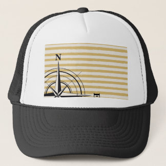 Nautical Compass NSEW Stripes Ivory Taupe Black Trucker Hat