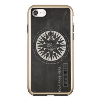 Nautical Compass on Black Chalkboard Incipio DualPro Shine iPhone 8/7 Case