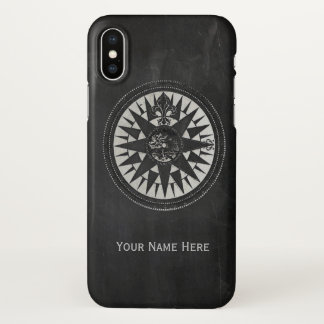 Nautical Compass on Black Chalkboard iPhone X Case