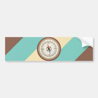 Nautical Compass On Vintage Retro Blue Cream Brown Bumper Sticker